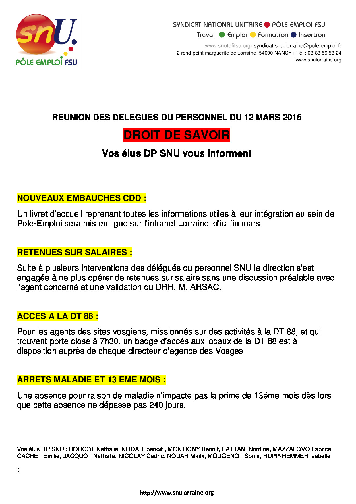 Delegues Du Personnel Snu Grand Est
