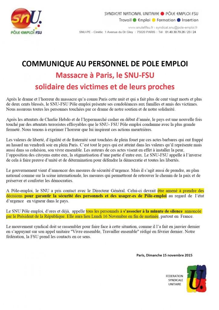 Communiqué SNU Attentats à PARIS