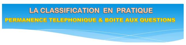 La classification en pratique: permanence téléphonique & boite aux questions