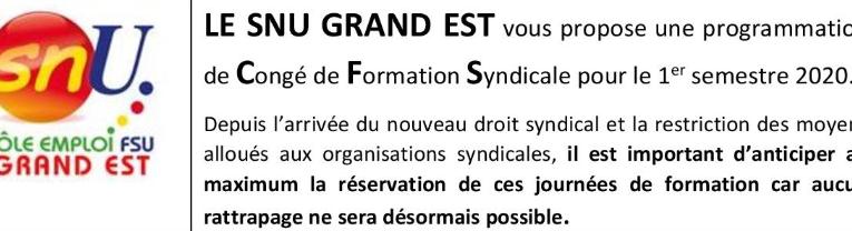 Congé de formation syndicale – programmation 1er semestre 2020